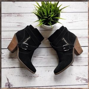 DOLCE VITA Suede Buckle Zipper Ankle Booties 8.5